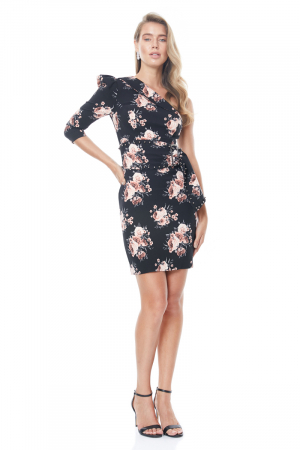 Print y21 crepe single sleeve mini dress