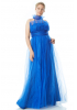 Sax plus size tulle sleeveless maxi dress