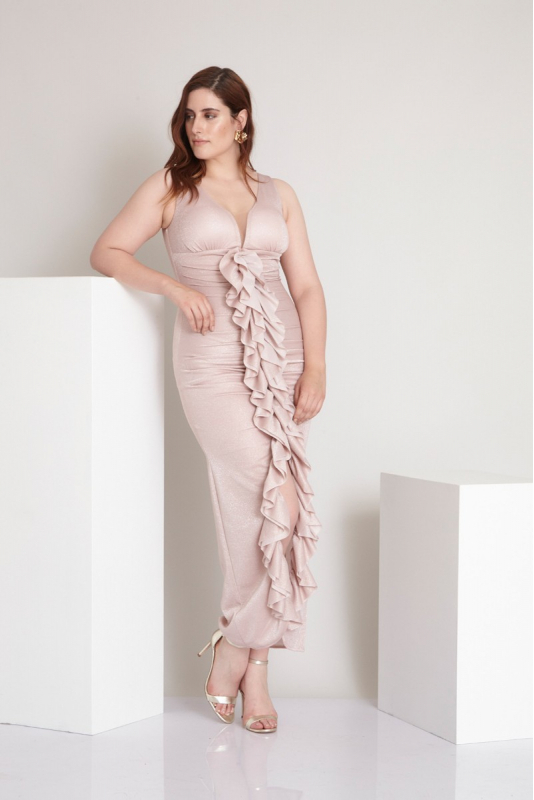 Powder plus size knitted sleeveless maxi dress