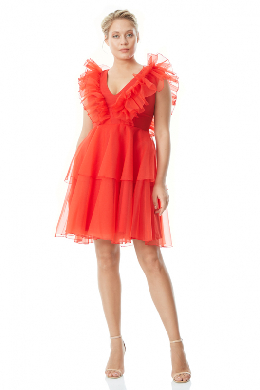 Red plus size tulle sleeveless mini dress