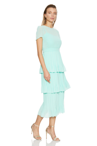 Mint green chiffon sleeveless maxi dress