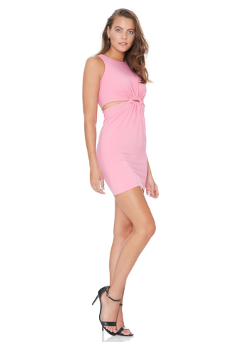 Pink crepe sleeveless mini dress
