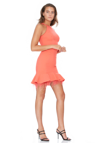 Orange crepe sleeveless mini dress