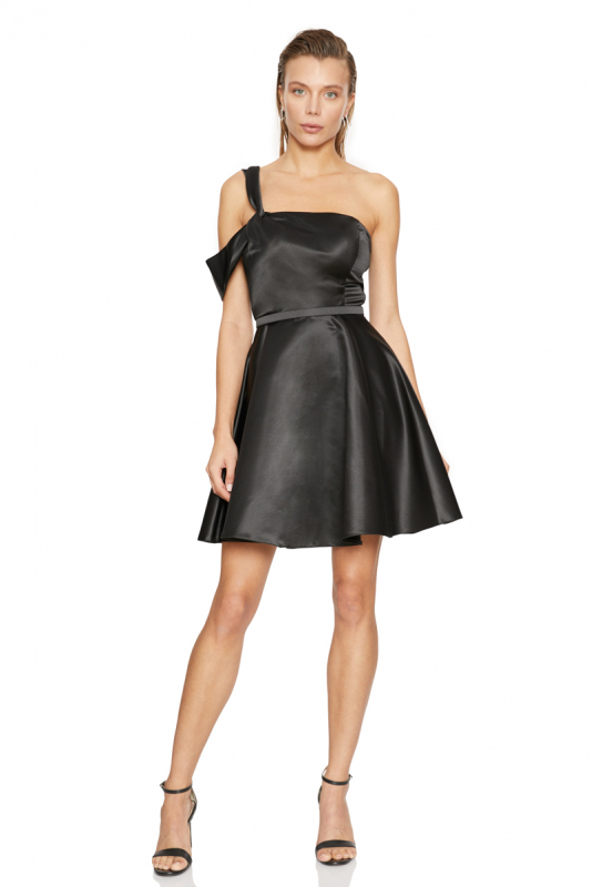 Black satin single sleeve mini dress
