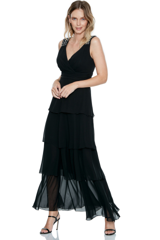 Black chiffon sleeveless maxi dress