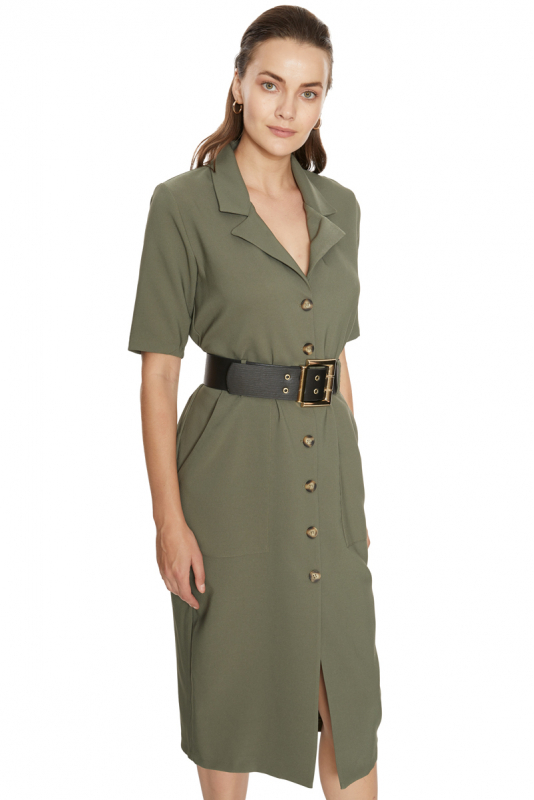 Khaki crepe 3/4 sleeve midi dress