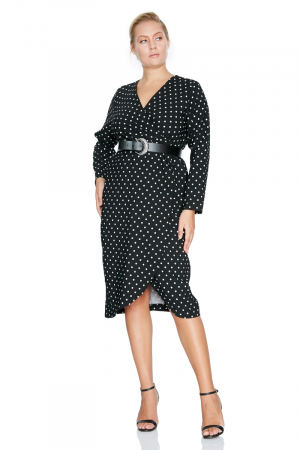 Print f77 plus size crepe long sleeve midi dress