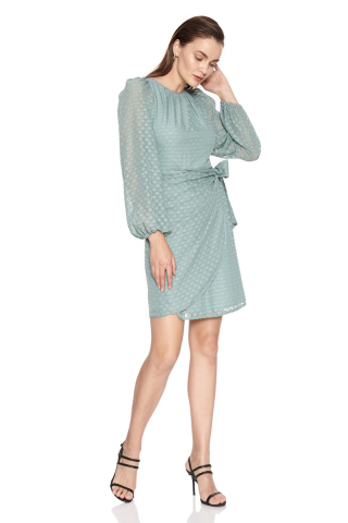 Mint green chiffon long sleeve mini dress