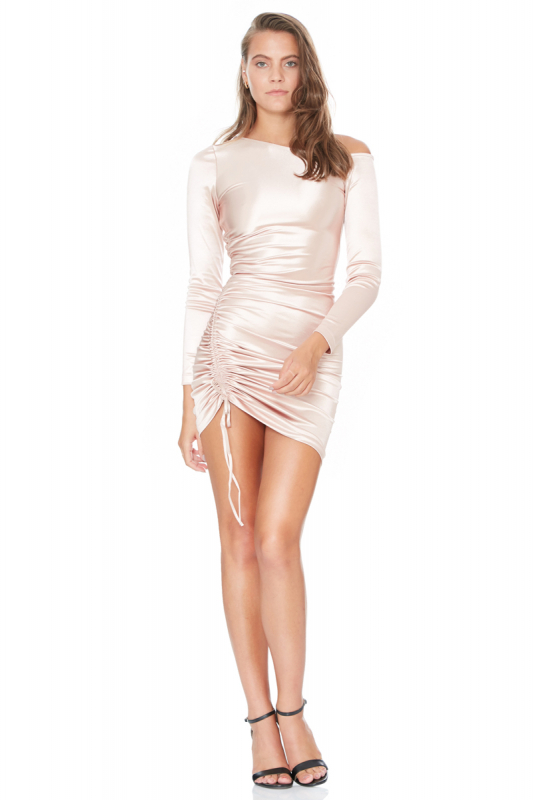 Powder satin long sleeve mini dress