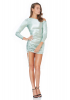 Water green satin long sleeve mini dress