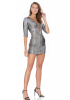 Silver knitted 3/4 sleeve mini dress