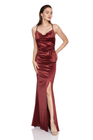 Claret red satin sleeveless maxi dress