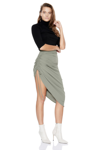 Khaki knitted midi skirt