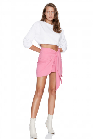 Pink knitted mini skirt