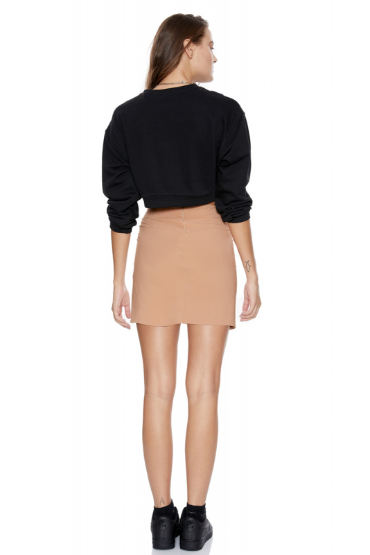 Camel knitted mini skirt