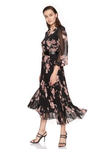 Print d65 chiffon long sleeve midi dress