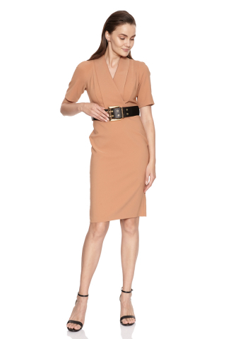 Camel crepe short sleeve midi dress