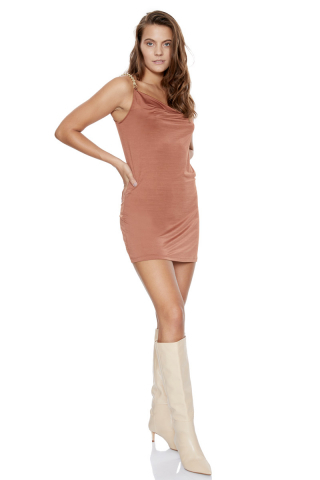Copper satin sleeveless mini dress