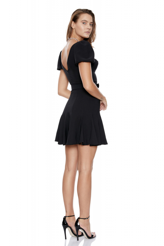 Black crepe short sleeve midi dress
