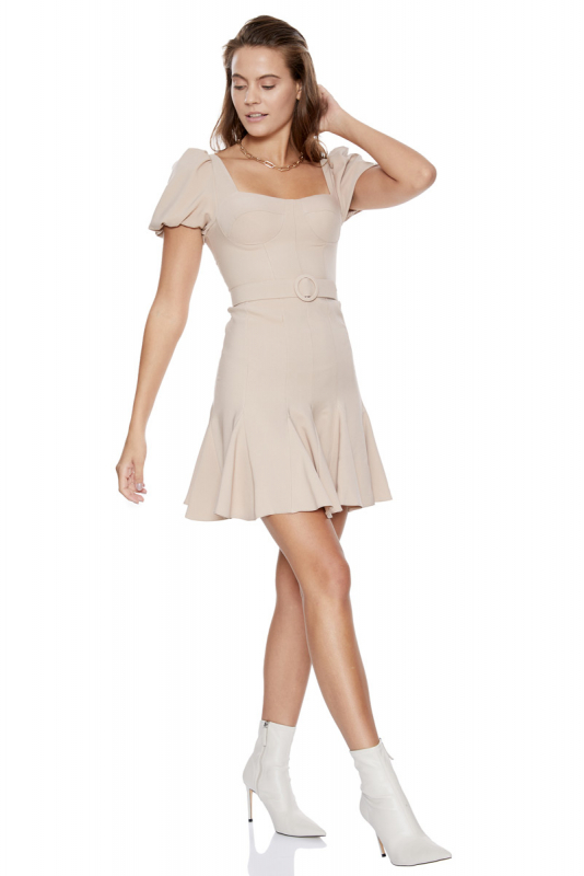 Beige crepe short sleeve midi dress