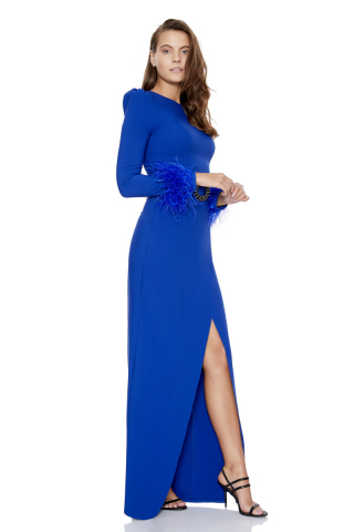 Sax crepe long sleeve maxi dress