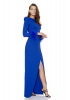 Sax crepe long sleeve long dress