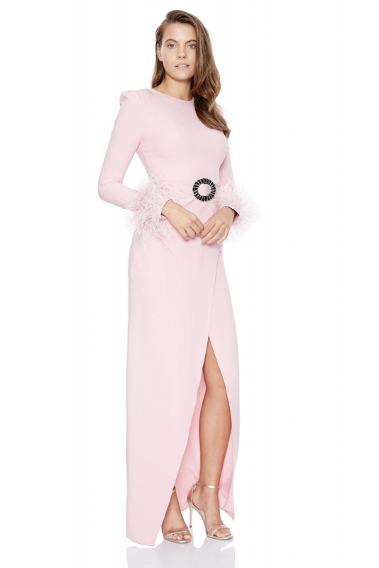Powder crepe long sleeve long dress