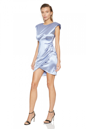 Blue satin sleeveless mini dress