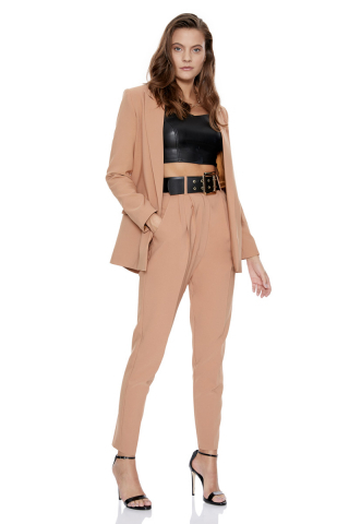 Camel crepe long sleeve jacket