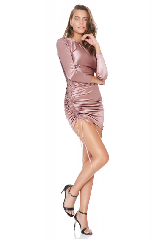 Dusty rose 020 satin long sleeve mini dress