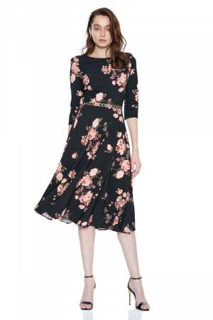 Print d65 crepe 3/4 sleeve midi dress