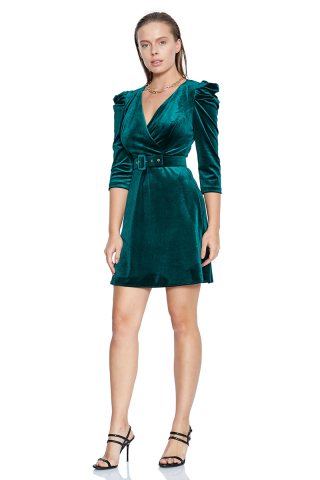 Green velvet long sleeve mini dress