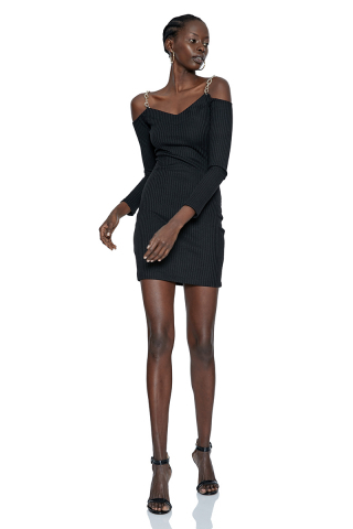 Black knitted long sleeve mini dress