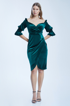 Green velvet 3/4 sleeve midi dress