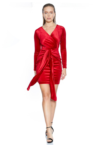 Red velvet long sleeve mini dress