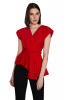 Red crepe sleeveless mini blouse