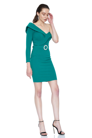 Green crepe single sleeve mini dress