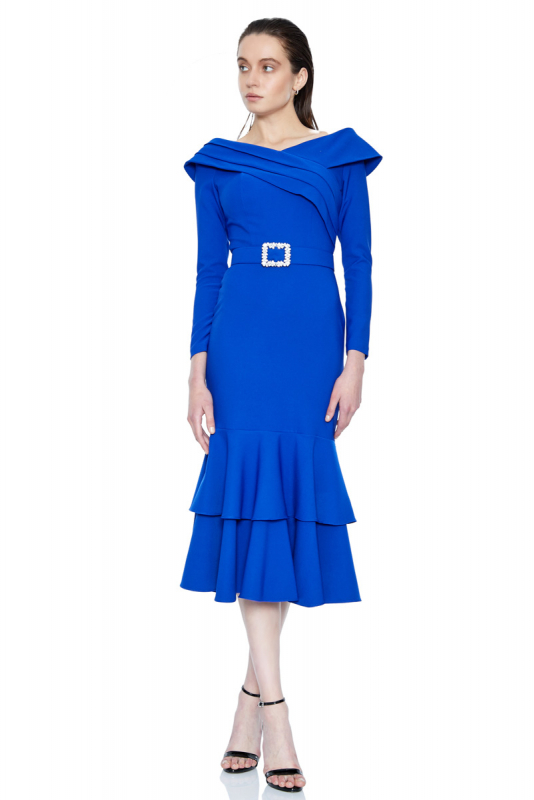 Sax crepe 3/4 sleeve midi dress