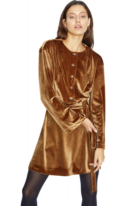 Camel velvet long sleeve blouse