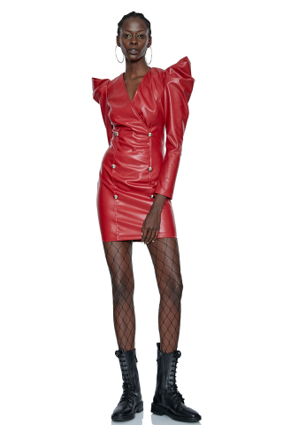Red leather long sleeve mini dress