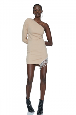 Beige single sleeve mini dress