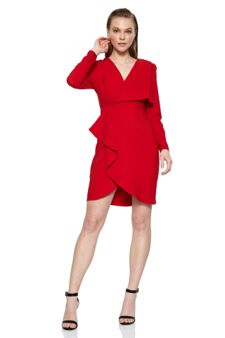 Red crepe long sleeve mini dress