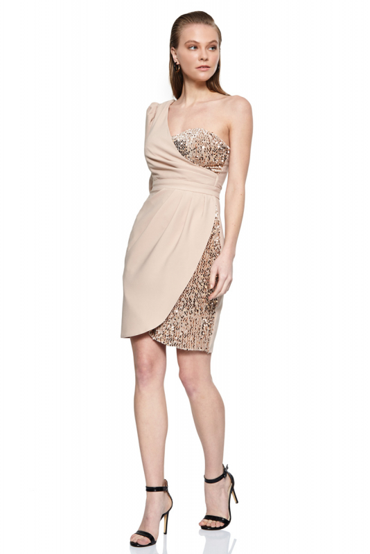 Beige crepe single sleeve midi dress