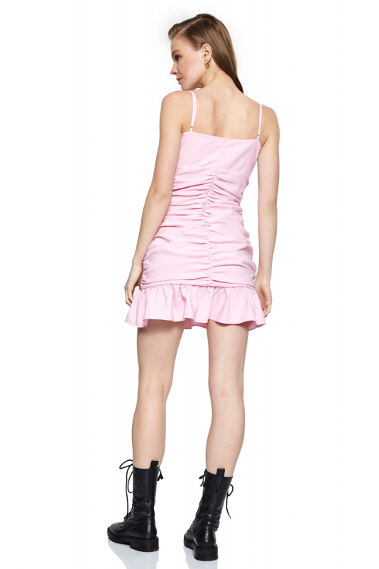 Pink 046 crepe sleeveless mini dress