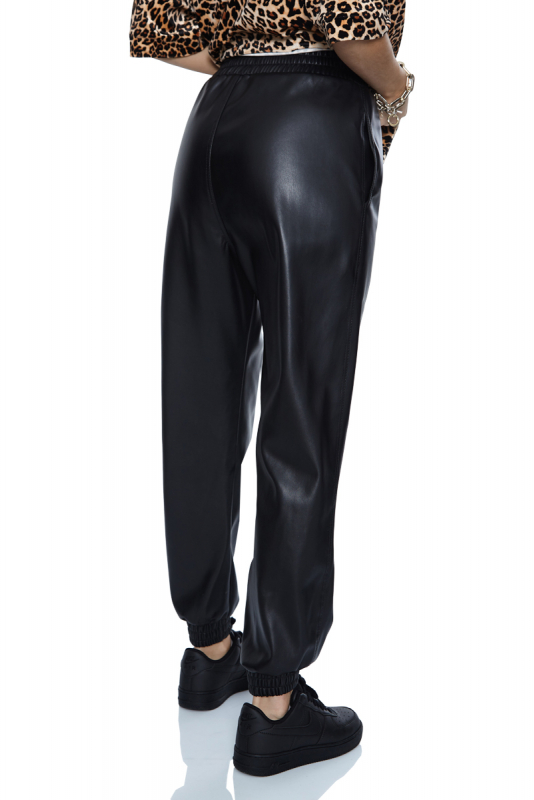 Black leather long trousers