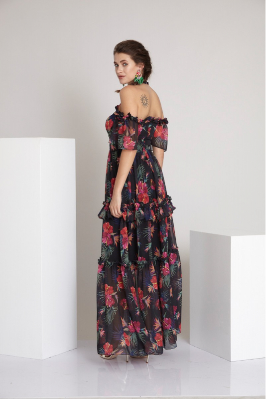 Print z53 chiffon 3/4 sleeve maxi dress