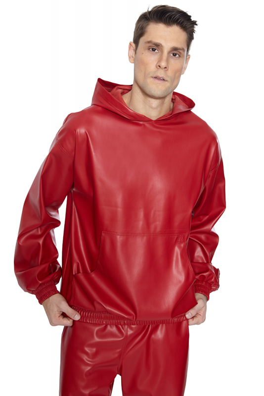 Red leather long sleeve