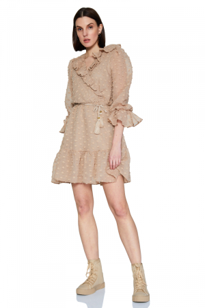 Beige long sleeve midi dress