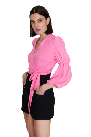 Pink 046 chiffon long sleeve mini blouse