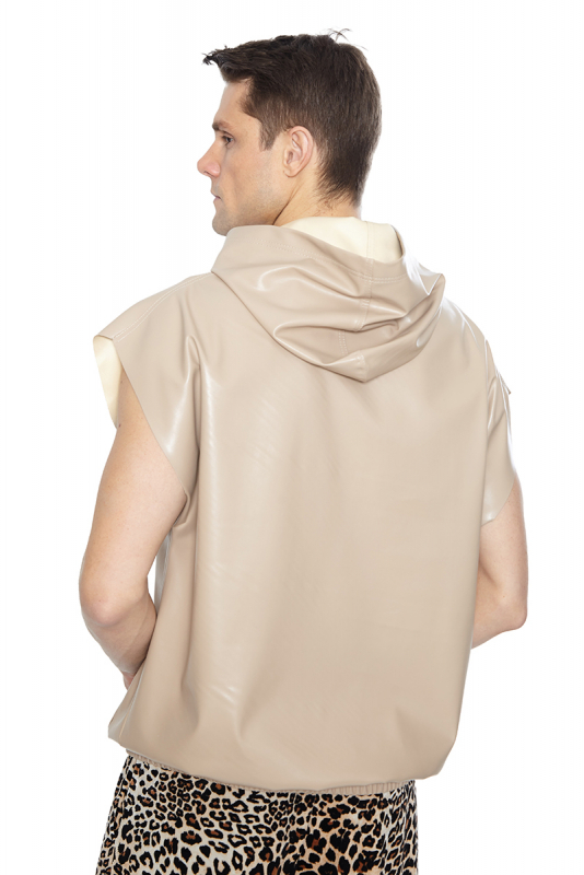 Beige leather sleeveless